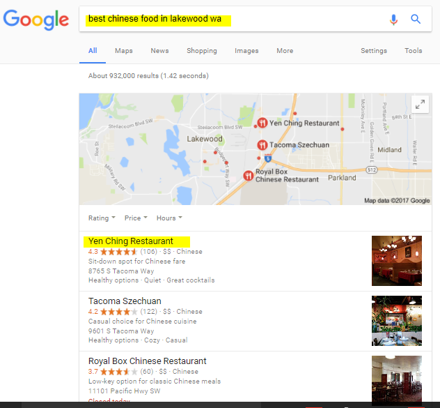 Voorbeeld van een restaurantzoekmachine