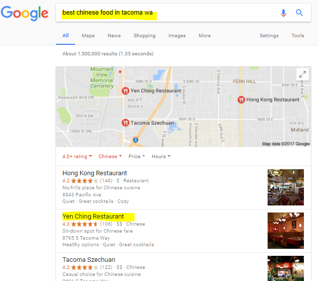 Chinese Food Restaurant SEO example