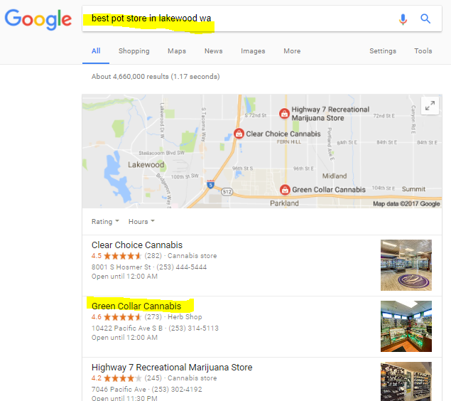 Marijuana Dispensary SEO example